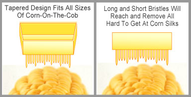 tapered brush, long and short, flexible bristles